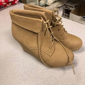Tan wedge booties lace-up